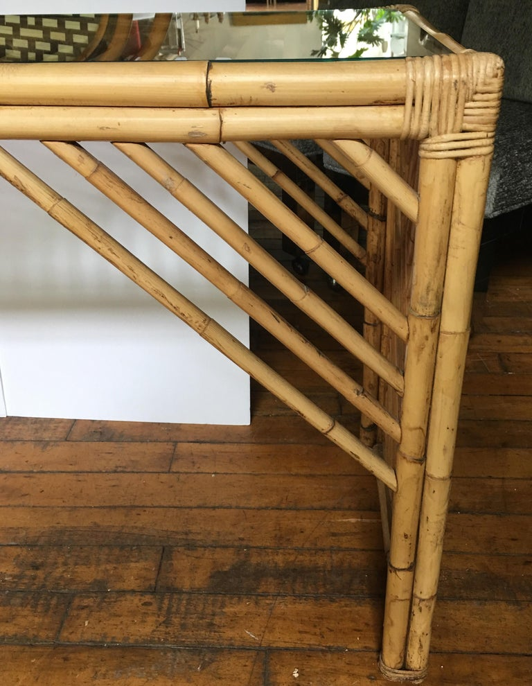 Mid-Century Modern Bamboo Rattan Fretwork Console Table with Stool Ottomans For Sale 7