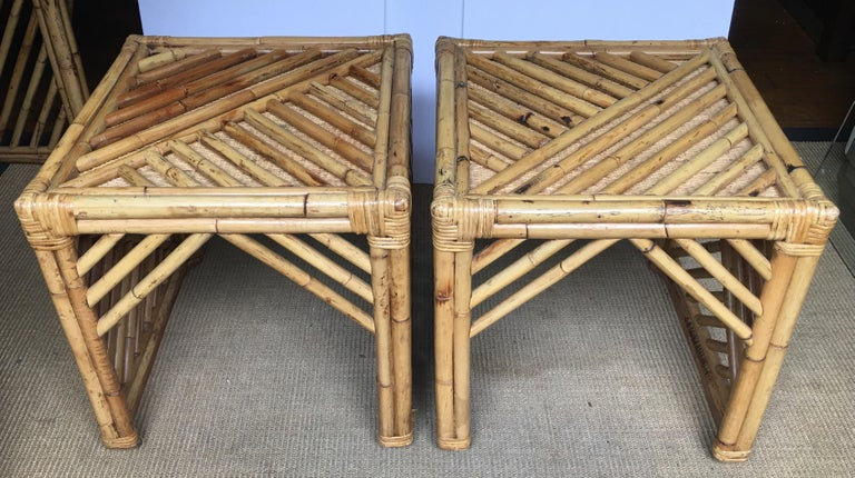 Mid-Century Modern Bamboo Rattan Fretwork Console Table with Stool Ottomans For Sale 11