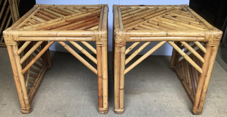 Mid-Century Modern Bamboo Rattan Fretwork Console Table with Stool Ottomans For Sale 13