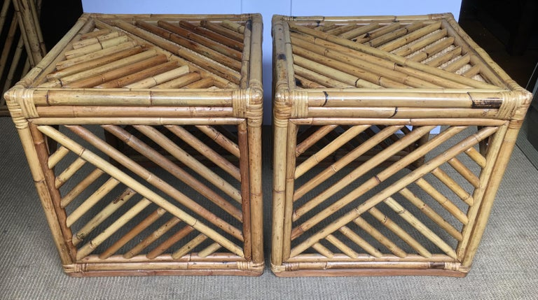 Mid-Century Modern Bamboo Rattan Fretwork Console Table with Stool Ottomans For Sale 15