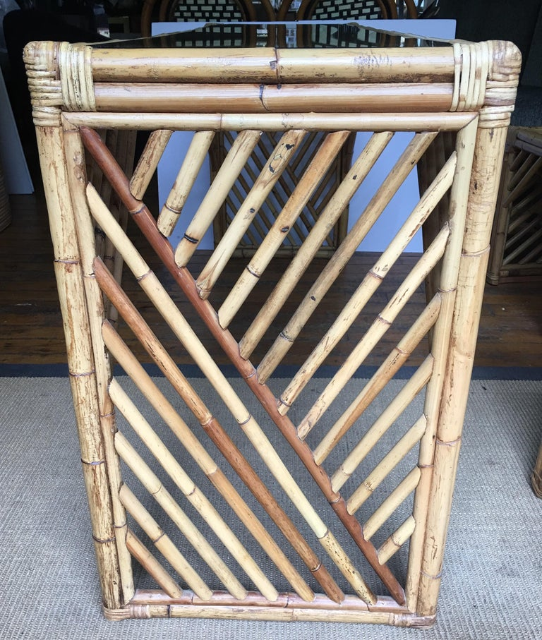 1970s Mid-Century Modern Bamboo Rattan Fretwork Console Table with Stool Ottomans For Sale