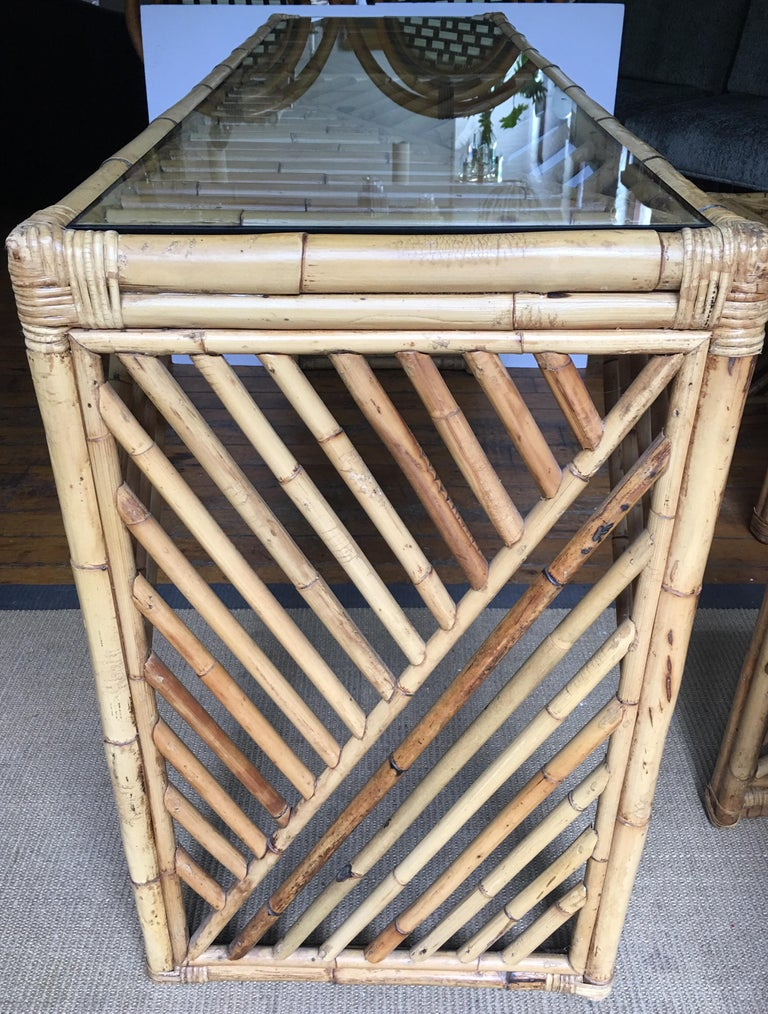 Mid-Century Modern Bamboo Rattan Fretwork Console Table with Stool Ottomans For Sale 1