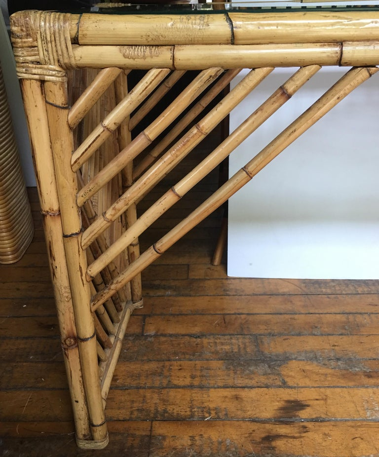 Mid-Century Modern Bamboo Rattan Fretwork Console Table with Stool Ottomans For Sale 3