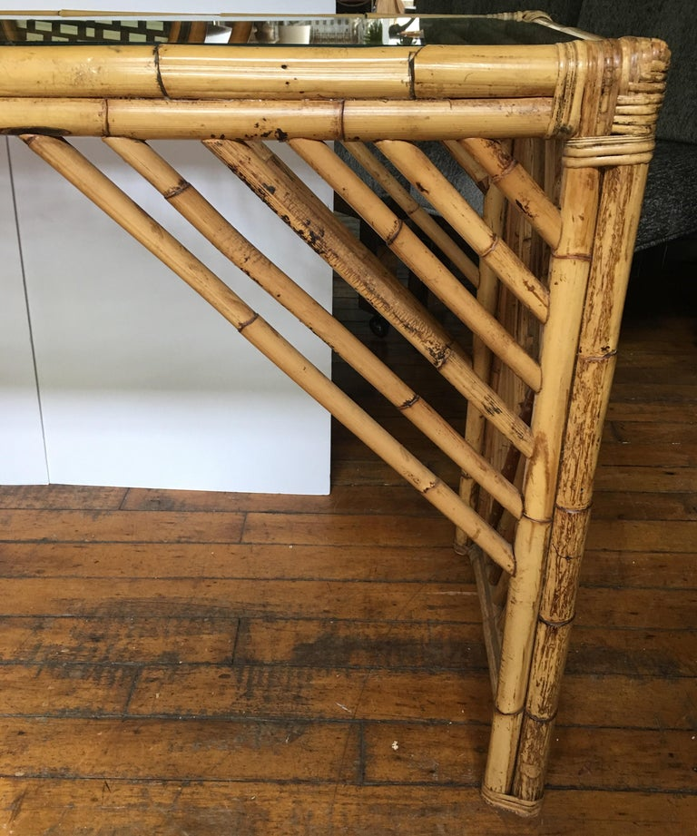 Mid-Century Modern Bamboo Rattan Fretwork Console Table with Stool Ottomans For Sale 4