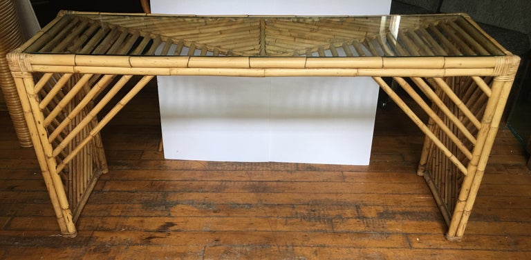 Mid-Century Modern Bamboo Rattan Fretwork Console Table with Stool Ottomans For Sale 5