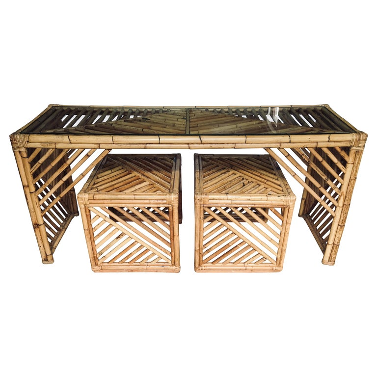 Mid-Century Modern Bamboo Rattan Fretwork Console Table with Stool Ottomans For Sale