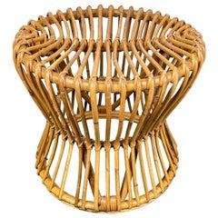 Mid-Century Modern Bamboo Rattan Round Stool, Italy, 1960s