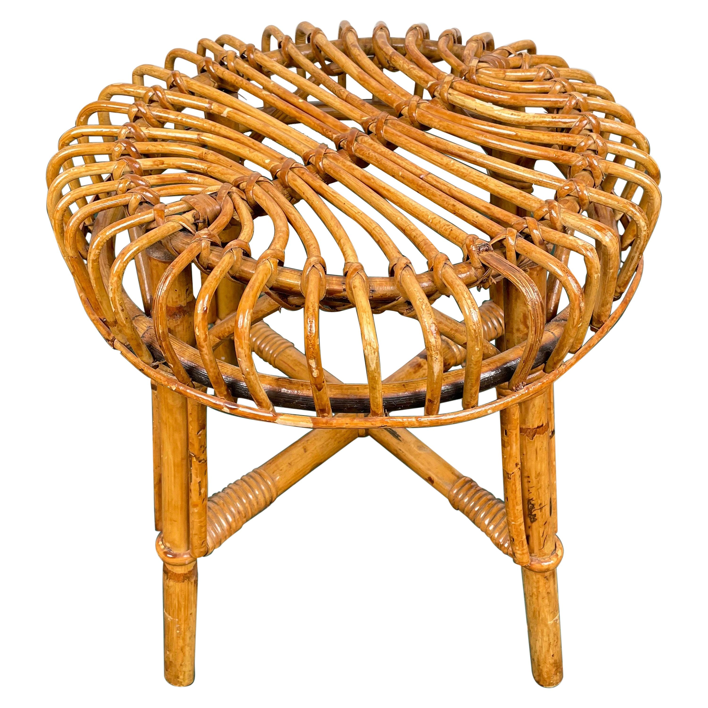 Mid-Century Modern Bamboo Rattan Stool, Italy, 1960s