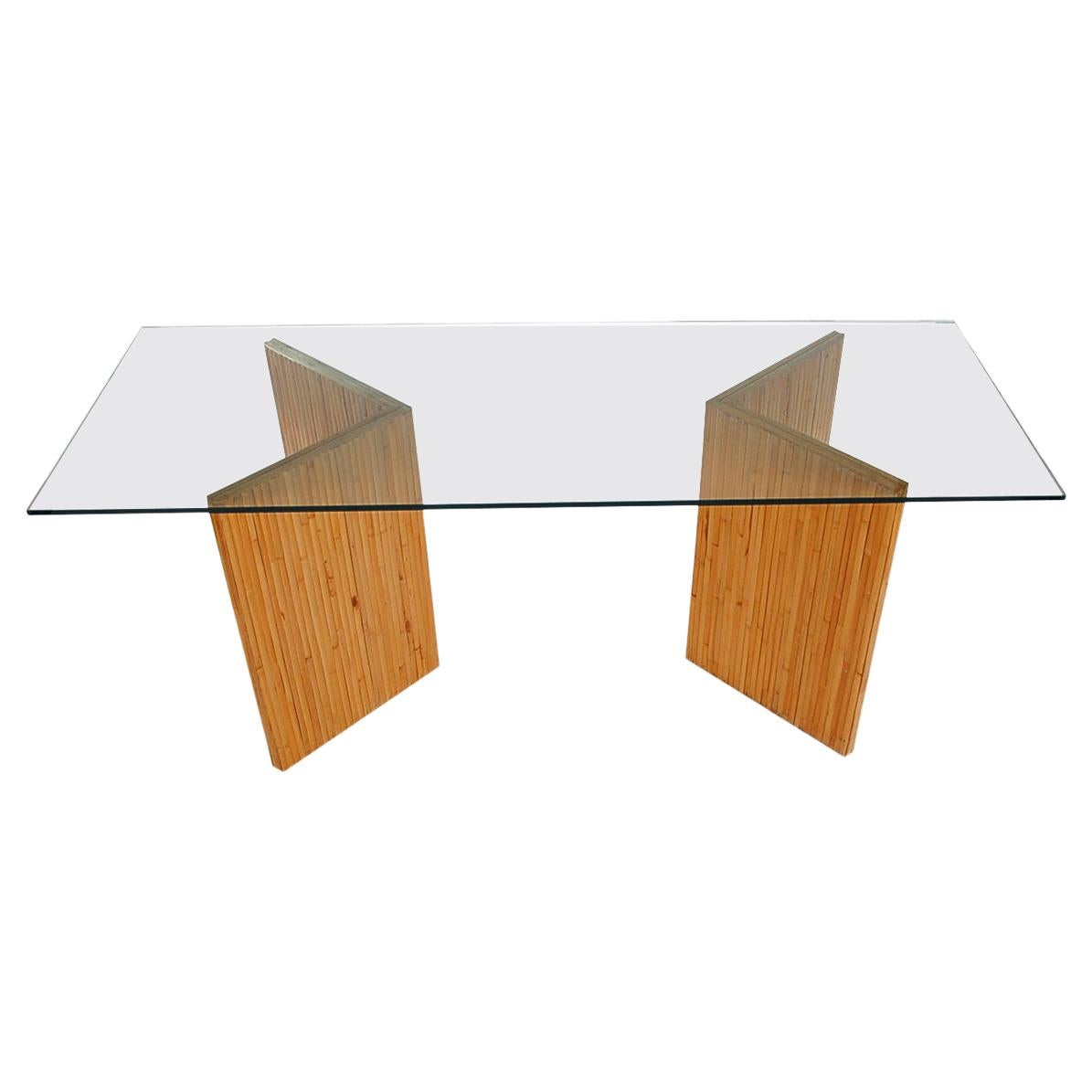 Mid-Century Modern Bamboo Reed Console Table, Sofa Table or Desk with Glass Top