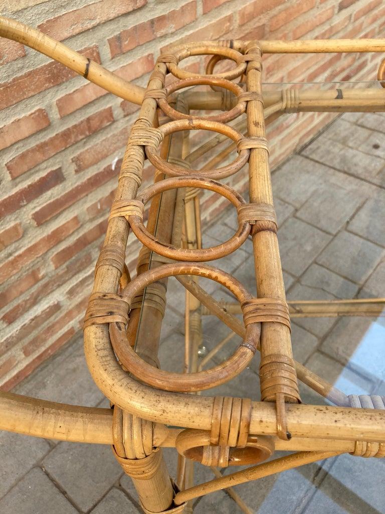 Mid-Century Modern Bamboo Tea Cart, Garden Furniture For Sale 6