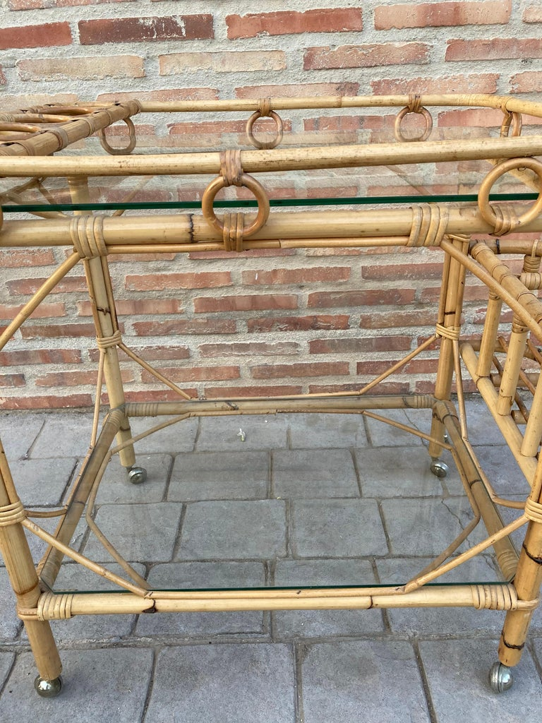 Mid-Century Modern Bamboo Tea Cart, Garden Furniture For Sale 7