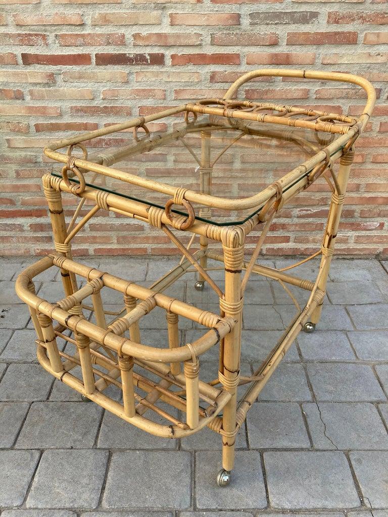 Spanish Mid-Century Modern Bamboo Tea Cart, Garden Furniture For Sale