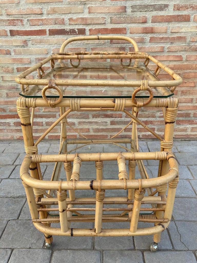20th Century Mid-Century Modern Bamboo Tea Cart, Garden Furniture For Sale