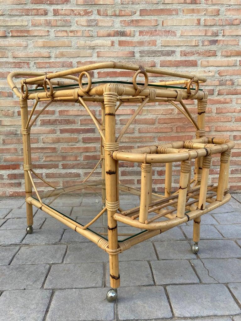 Mid-Century Modern Bamboo Tea Cart, Garden Furniture For Sale 1