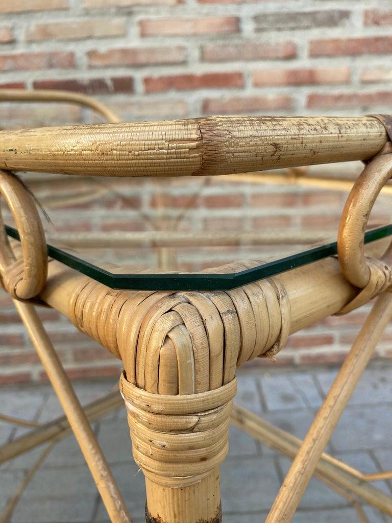 Mid-Century Modern Bamboo Tea Cart, Garden Furniture For Sale 3