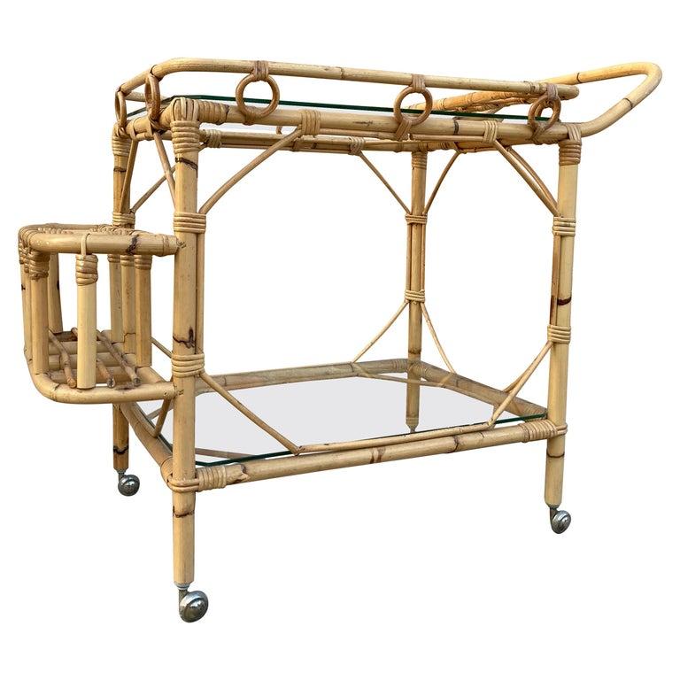Mid-Century Modern Bamboo Tea Cart, Garden Furniture For Sale