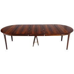 Mid-Century Modern Banquet Large Dining Conference Table Three Leaves Round