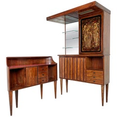 Mid-Century Modern Bar Cabinet in Wood, Mirror and Glass, Italy, 1960s