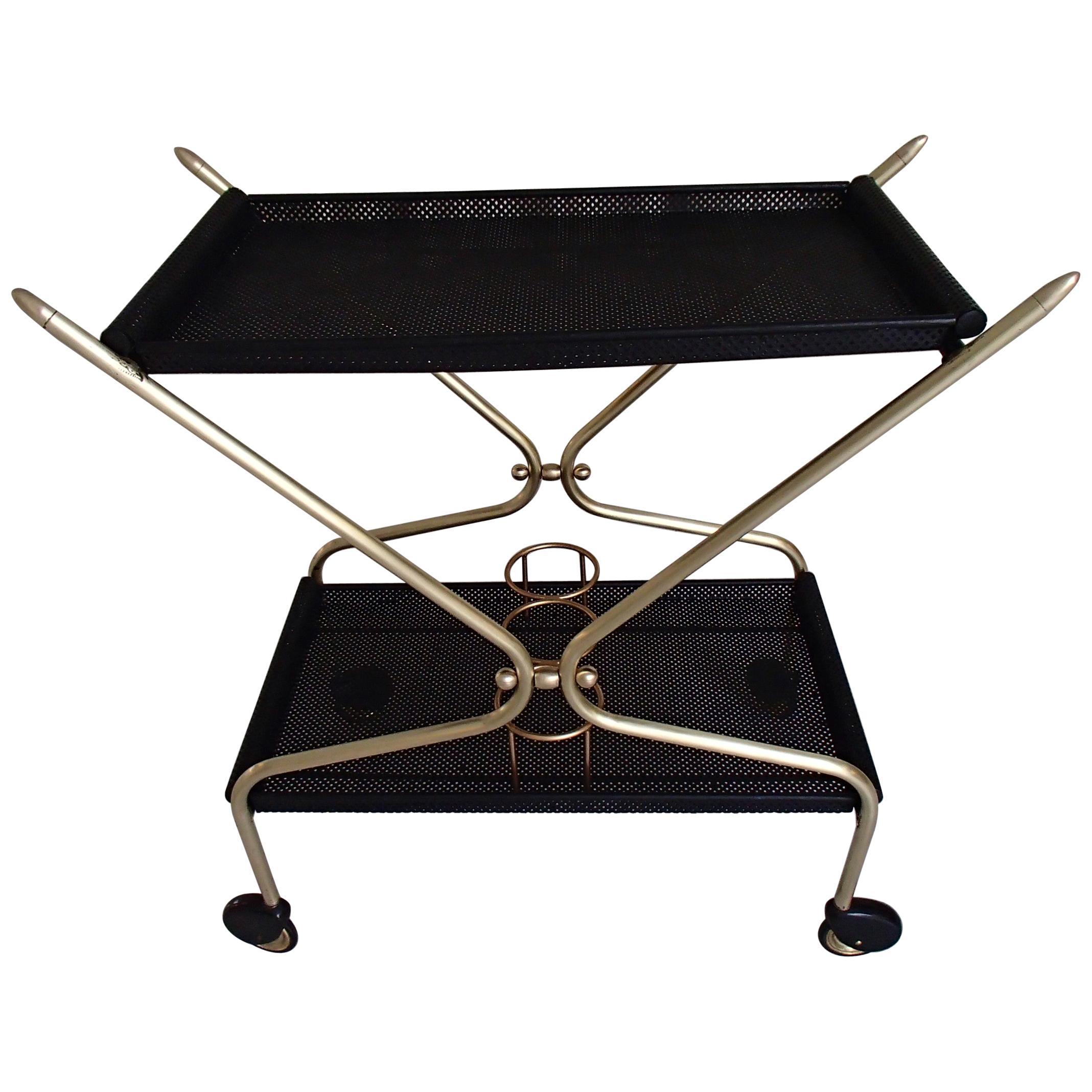 Mid-Century Modern Bar Cart in the Style of Mathieu Matégot
