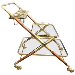 Mid-Century Modern Bar Cart, Teak and Brass