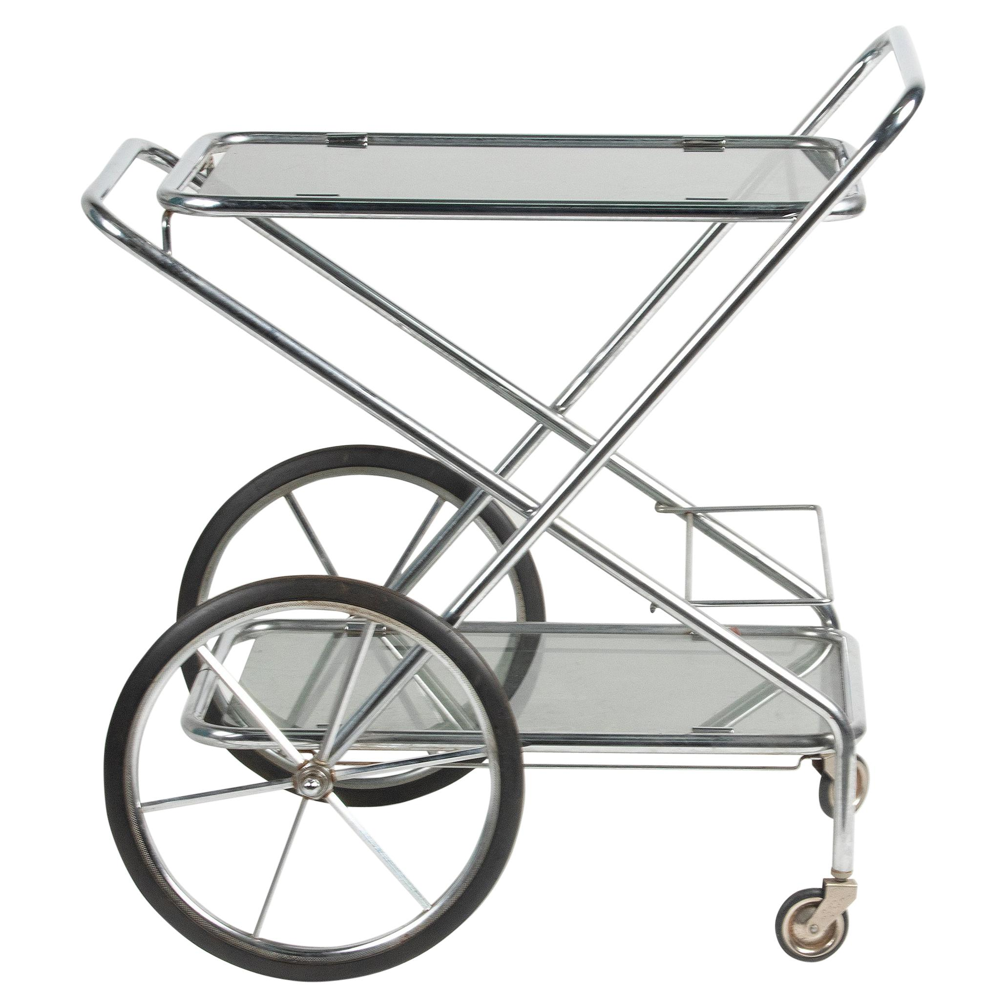 Mid-Century Modern Bar Cart Trolley Brushed Chrome Smoked Glass