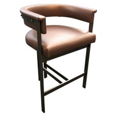 Mid-Century Modern Bar Chair/Stool in Welded Steel and Cognac Leather Upholstery