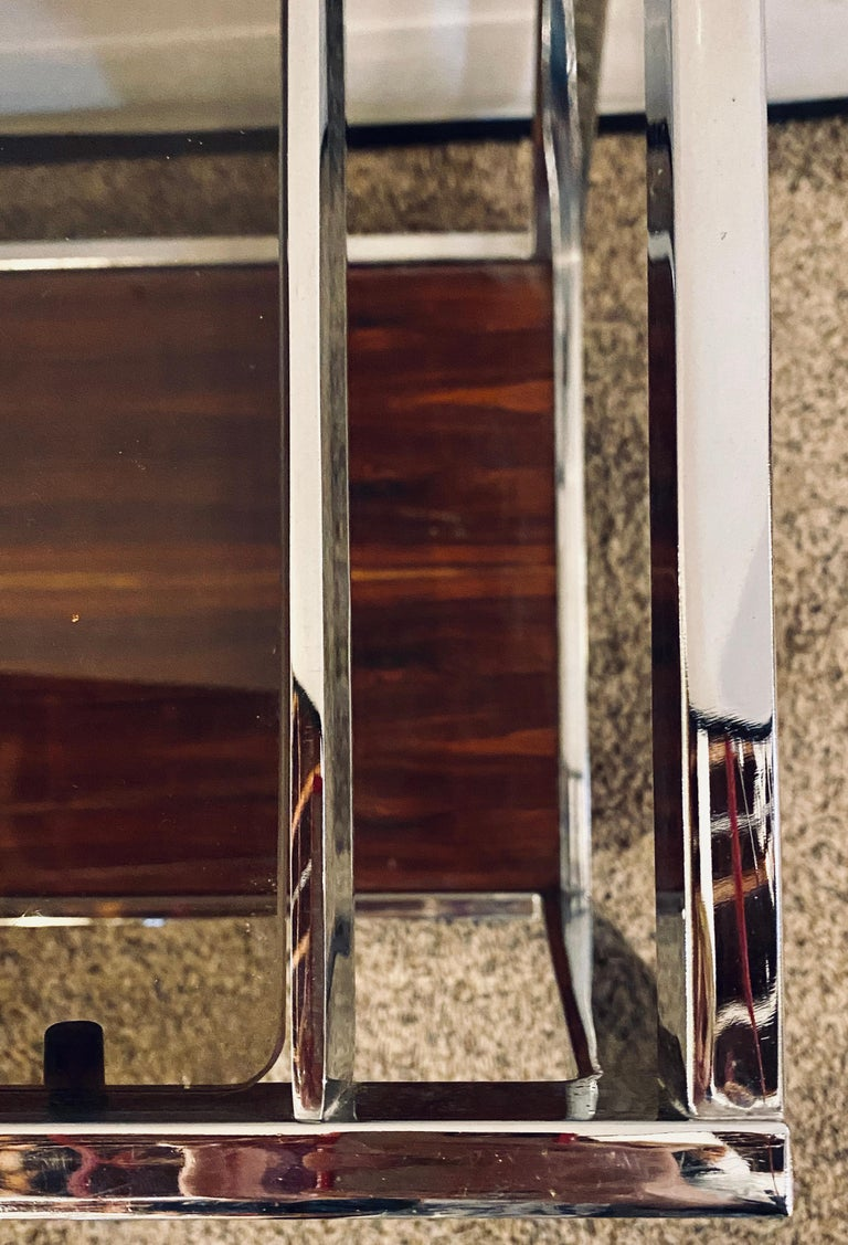 Mid-Century Modern Bar or Serving Cart, Rosewood & Chrome on Casters For Sale 7