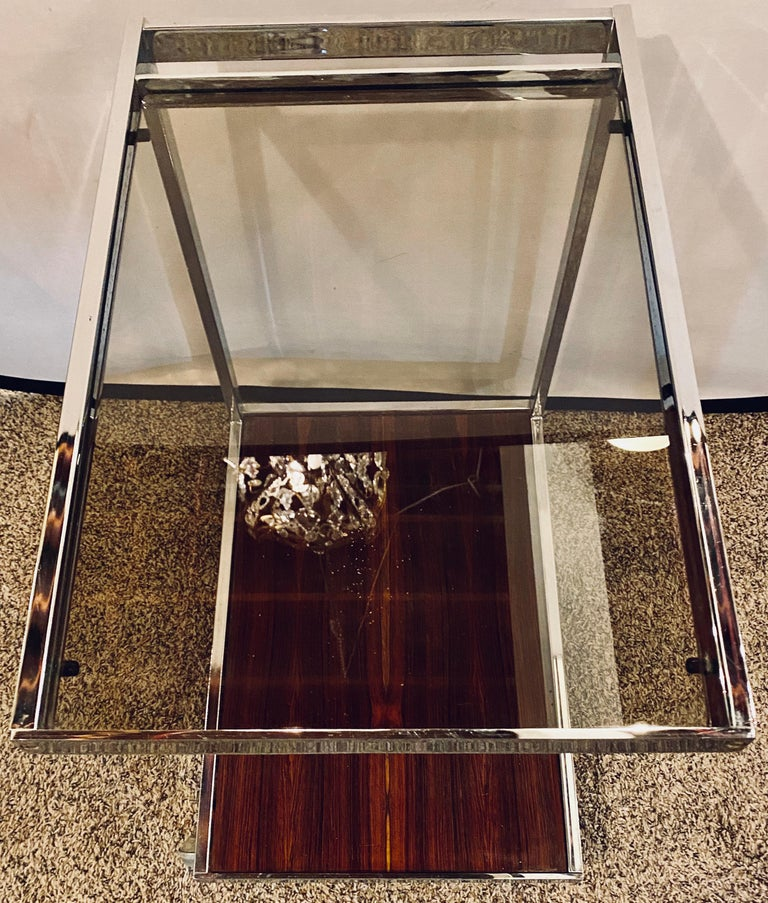 Mid-Century Modern Bar or Serving Cart, Rosewood & Chrome on Casters For Sale 8