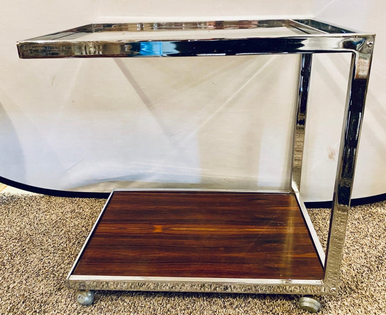 Mid-20th Century Mid-Century Modern Bar or Serving Cart, Rosewood & Chrome on Casters For Sale