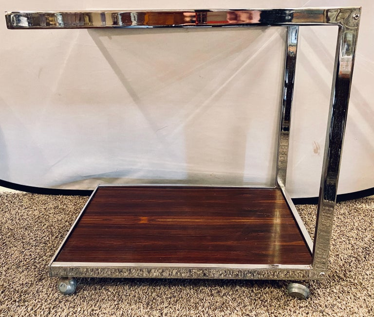 Glass Mid-Century Modern Bar or Serving Cart, Rosewood & Chrome on Casters For Sale