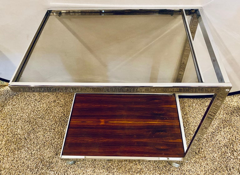 Mid-Century Modern Bar or Serving Cart, Rosewood & Chrome on Casters For Sale 1