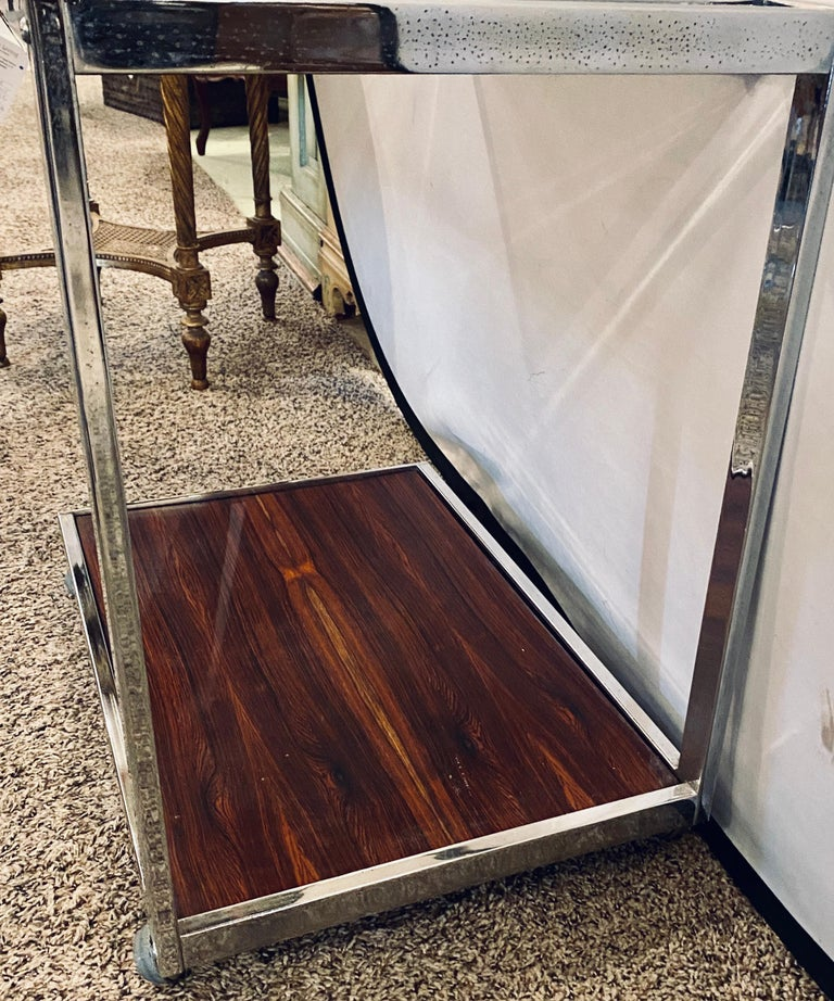 Mid-Century Modern Bar or Serving Cart, Rosewood & Chrome on Casters For Sale 3