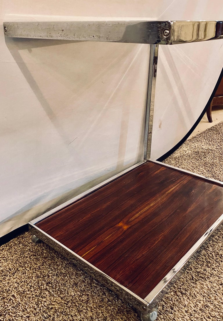 Mid-Century Modern Bar or Serving Cart, Rosewood & Chrome on Casters For Sale 4