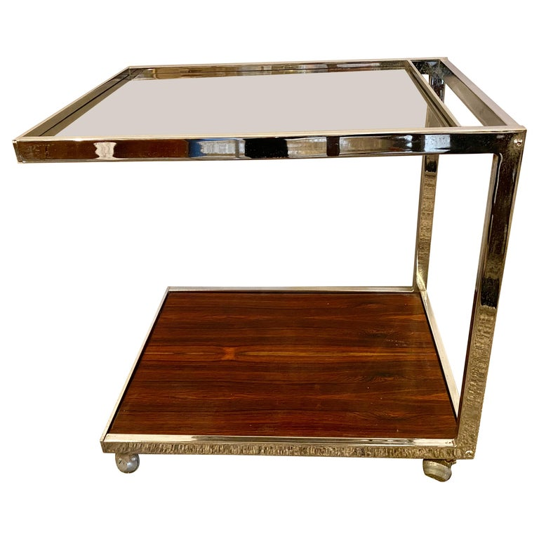 Mid-Century Modern Bar or Serving Cart, Rosewood & Chrome on Casters For Sale