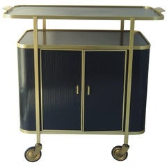 Mid-Century Modern Bar Trolley Black Aluminium Gold and Red Inside