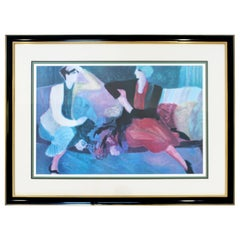 Mid-Century Modern Barbara A. Wood Framed Signed Lithograph Best Friends 633/975