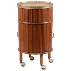 Mid-Century Modern Barcart Mahogany Tambour Drinks Trolley Osvaldo Borsani Style