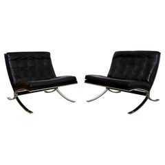 Mid-Century Modern Barcelona Pair of Lounge Chairs Mies Van der Rohe Style 1970s