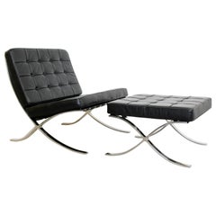 Mid-Century Modern Barcelona Style Black Leather & Chrome Lounge Chair & Ottoman