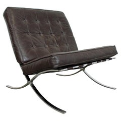 Mid-Century Modern Barcelona Style Chrome Lounge Chair