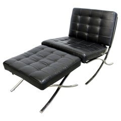 Mid-Century Modern Barcelona Style Leather Chrome Lounge Chair and Ottoman