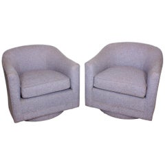 Mid-Century Modern Barrel Swivel Chairs in Style of Milo Baughman Thayer Coggin
