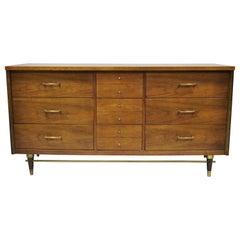 Mid-Century Modern Bassett Walnut Long Dresser Credenza with Brass Stretcher