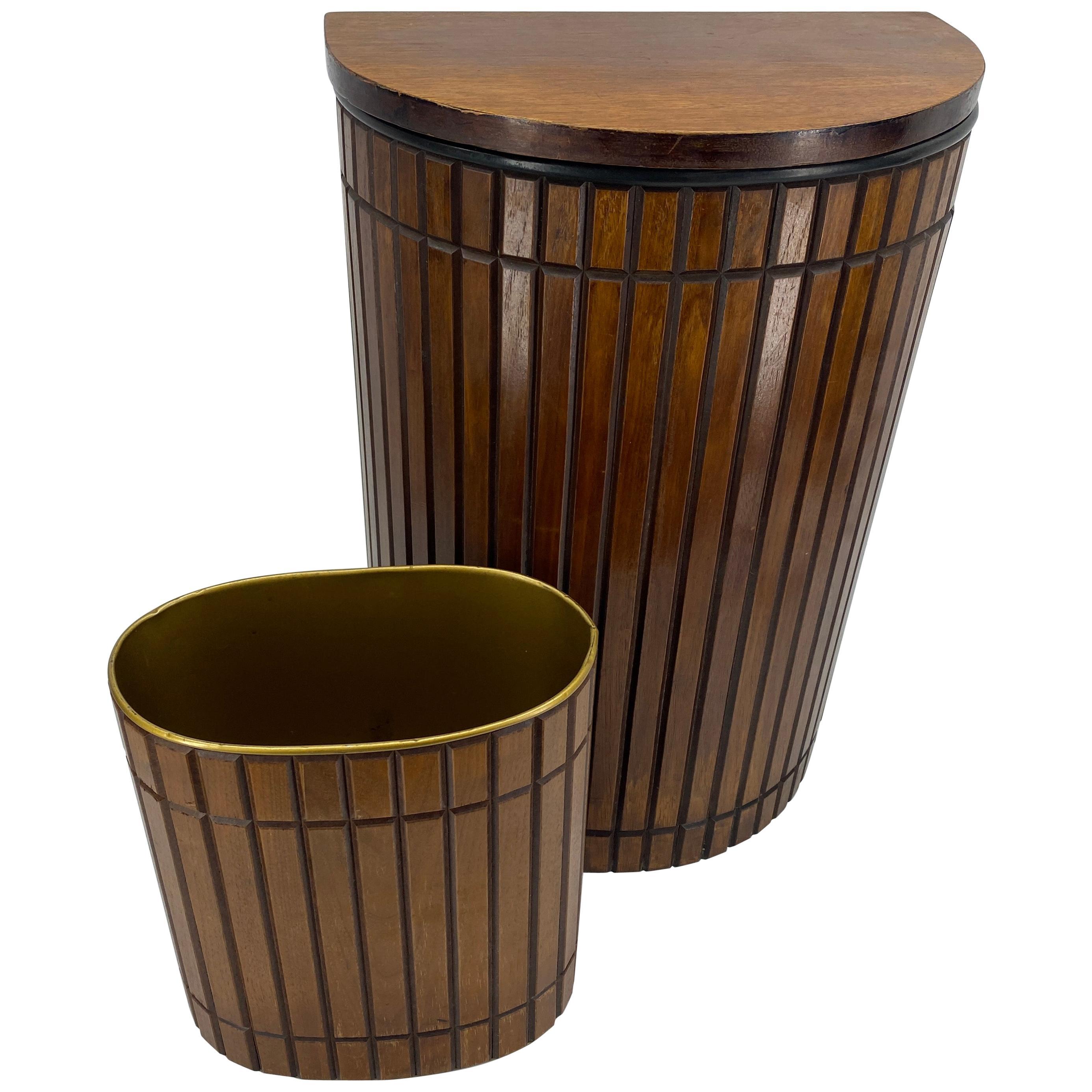Set of Mid-Century Modern Bathroom Hamper and Wastebasket