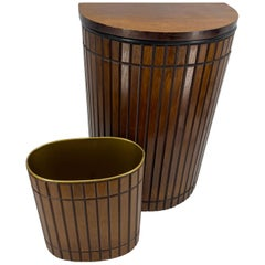 Set of Mid-Century Modern Bathroom Hamper and Wastebasket