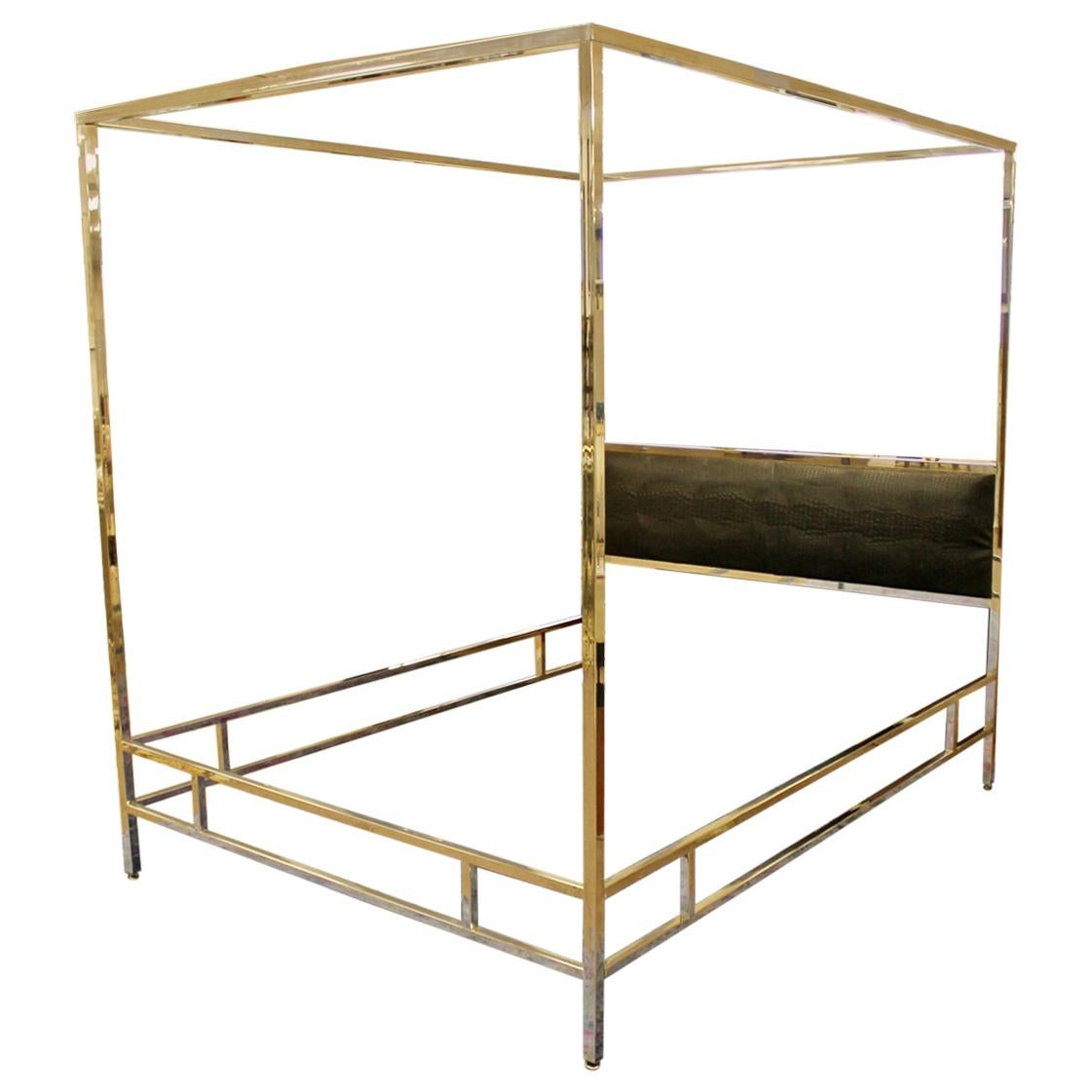 Mid-Century Chrome Black 4 Poster Queen Canopy Bed Frame, 1970s