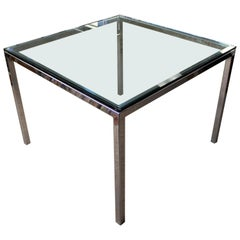 Mid-Century Modern Baughman Chrome and Glass Square Dinette Game Table, 1970s