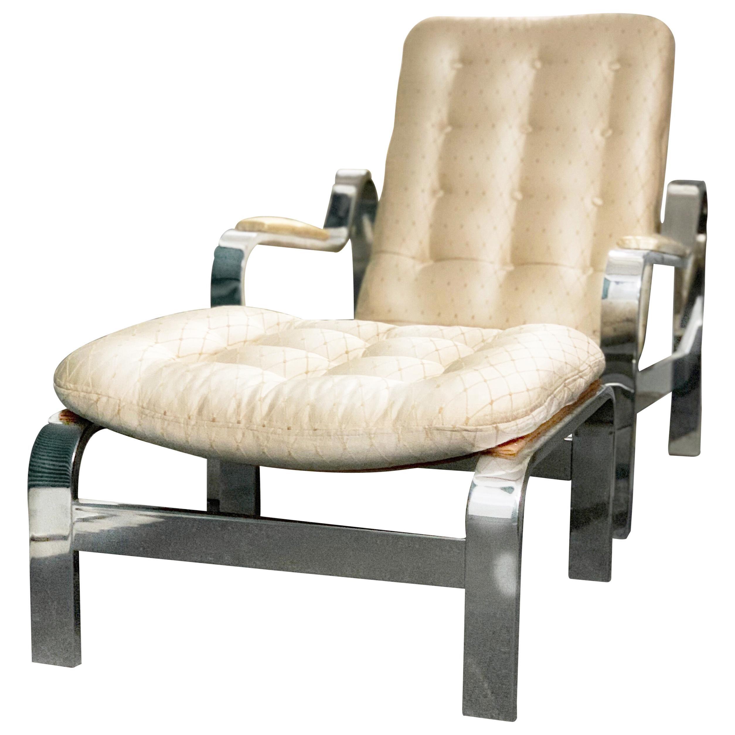 Mid-Century Modern Steel Reclining Lounge Chair Ottoman