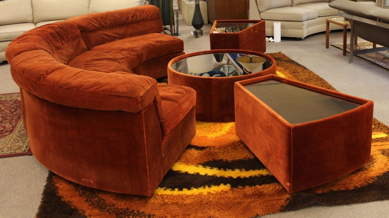 Mid Century Modern Baughman Curved Sectional Sofa And Side