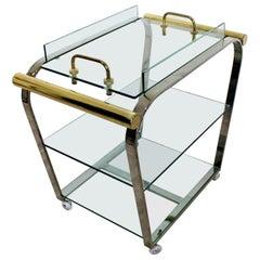 Mid-Century Modern DIA 3-Tier Brass Chrome Glass Bar Serving Cart 1970s